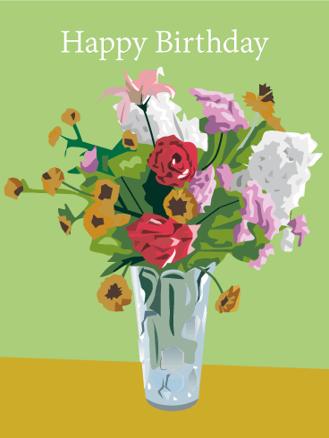 Birthday Flowers in Vase Card