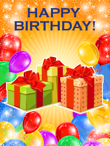 Shinning & Colorful Happy Birthday Card