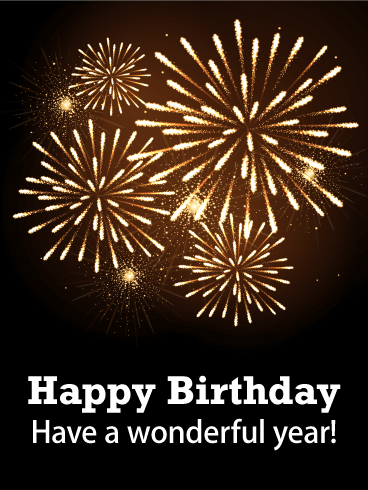 Elegant Fireworks Happy Birthday Card