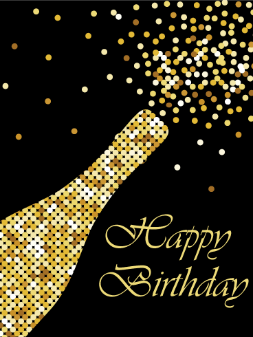 Pop Art Champagne Happy Birthday Card