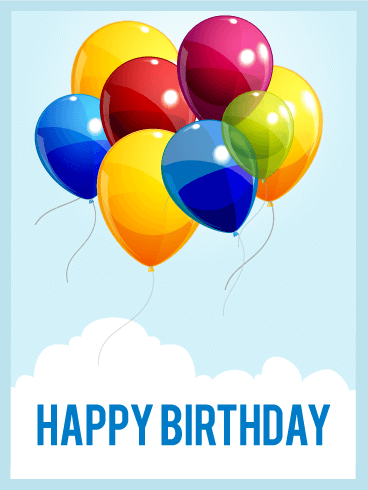 Birthday Balloons in the Sky Card