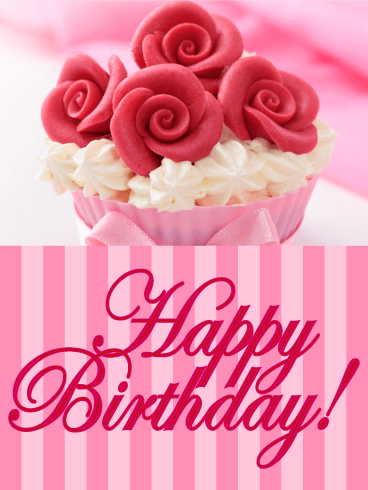 Rose Cupcake Happy Birthday Card