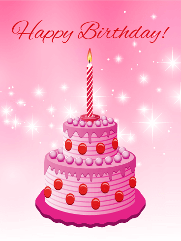 Pink & Sparkle Happy Birthday Card
