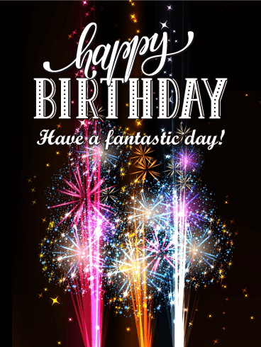 Vivid Fireworks Happy Birthday Card