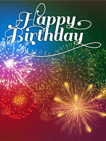 Rainbow Color Fireworks Happy Birthday Card