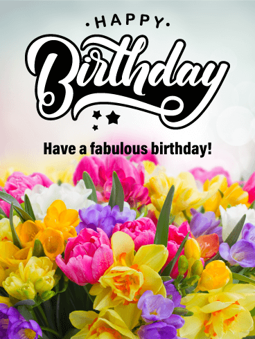 Gorgeous Flower Happy Birthday Card
