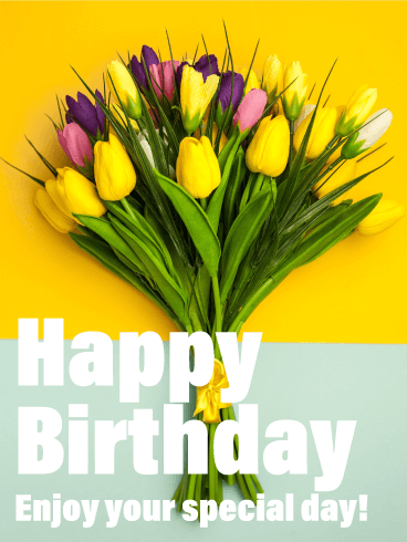 Tulip Bouquet Happy Birthday Card