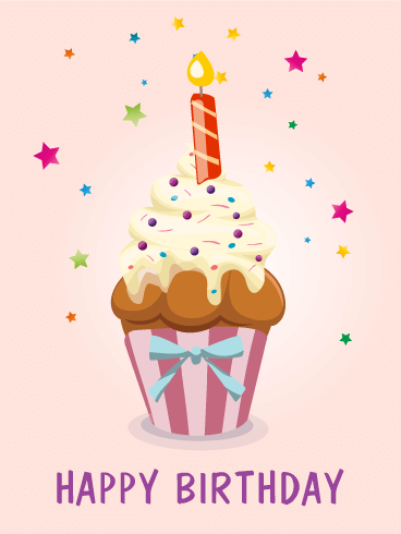 Birthday Pink Star Cupcake Card