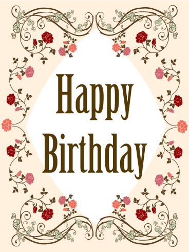 Elegant Birthday Flower Frame Card