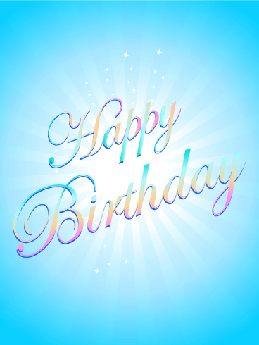 Shiny Blue Birthday Card
