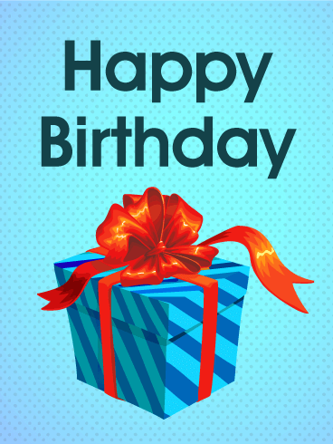 Blue Birthday Gift Box Card