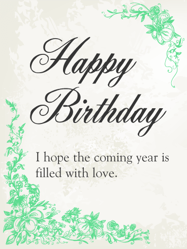 Beautiful Green Flower Birthday Card