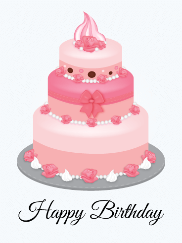 Pink Birthday Cake Card