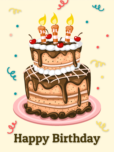 Chocolate and Cherry Birthday Cake Card