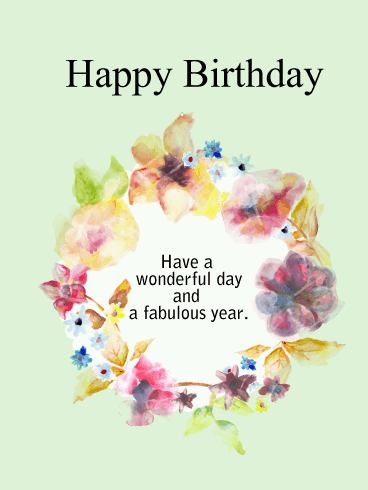 Birthday Flower Wreath Card