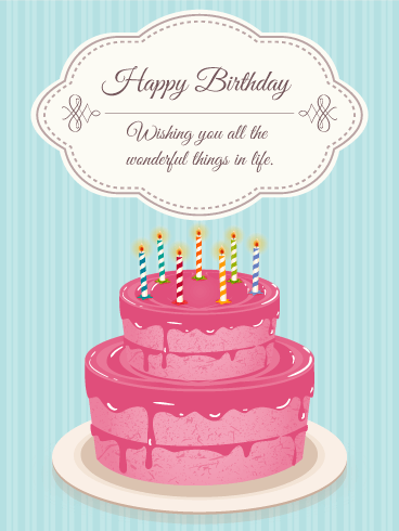 Lovely Pink Birthday Cake Card