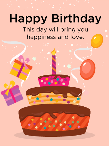 Colorful Birthday Cake Card