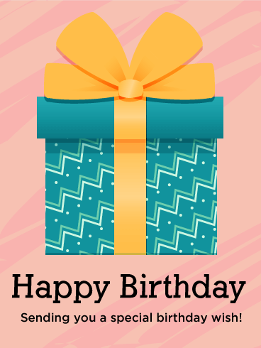 Birthday Blue Gift Box Card