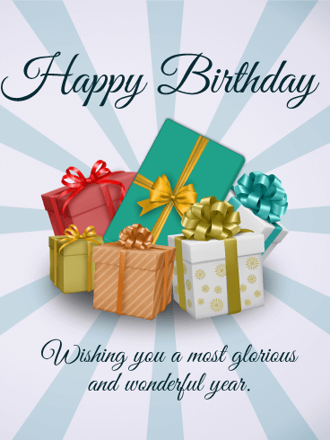 Happy Birthday Gift Boxes Card Birthday Greeting Cards By Davia