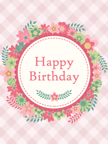 Pink Flower Wreath Birthday Card