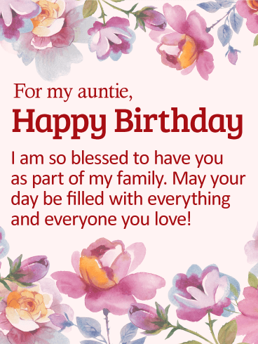 So Blessed to Have You - Happy Birthday Wishes Card for Aunt
