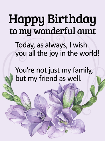 To my wonderful aunt happy birthday wishes card birthday to my wonderful aunt happy birthday wishes card m4hsunfo