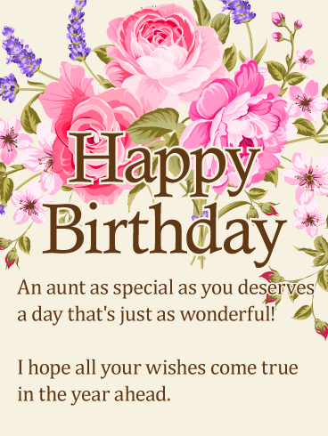 To My Special Aunt Happy Birthday Wishes Card Birthday