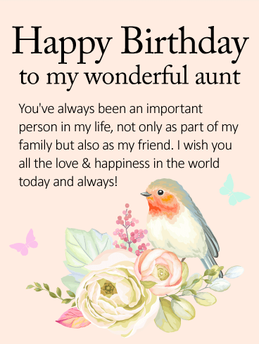 I Wish You All the Love   Happy Birthday Wishes Card for Aunt