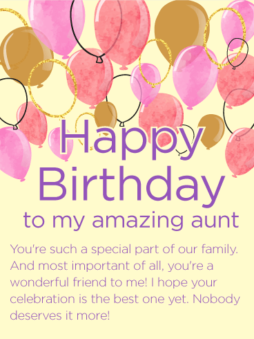 To My Amazing Aunt Happy Birthday Wishes Card Birthday