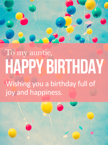 Vivid Birthday Balloon Card for Aunt