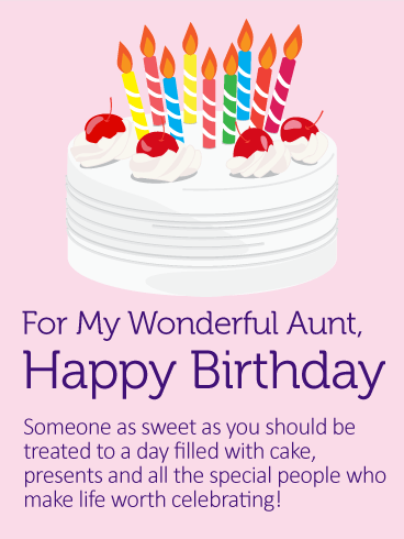 Yummy Birthday Cake Card For Aunt Birthday Greeting Cards By Davia