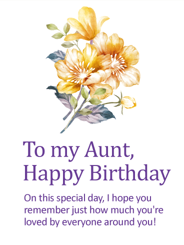 You Are Loved Happy Birthday Card For Aunt Birthday Greeting