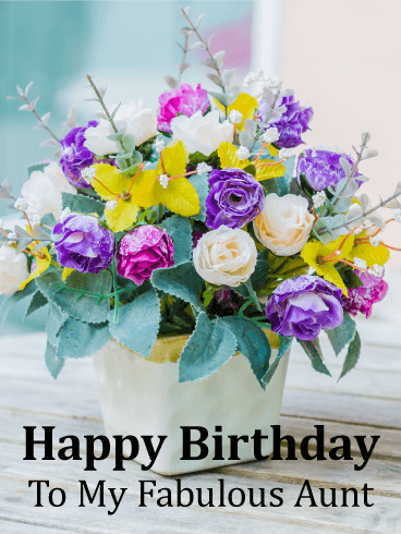 Gorgeous Flower Bouquet Happy Birthday Card for Aunt
