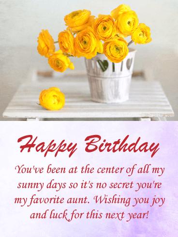 To My Favorite Aunt Happy Birthday Card Birthday Greeting