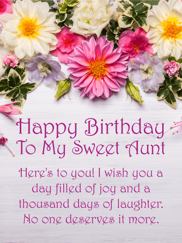 Heres To You Happy Birthday Card For Aunt Birthday Greeting
