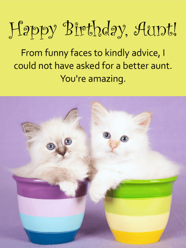 Cute Cats Happy Birthday Card for Aunt