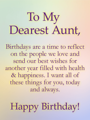 Sending Wishes Happy Birthday Card For Aunt Birthday Greeting