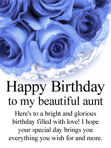Blue Rose Happy Birthday Card for Aunt
