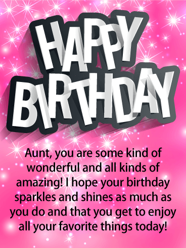 Glittery Pink Happy Birthday Card for Aunt
