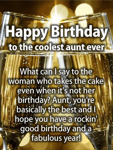 Stylish Groovy Happy Birthday Card For Aunt