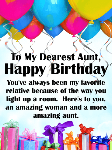 To My Favorite Relative Happy Birthday Card For Aunt Birthday