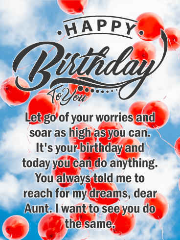 Let go of Your Dreams - Happy Birthday Card for Aunt
