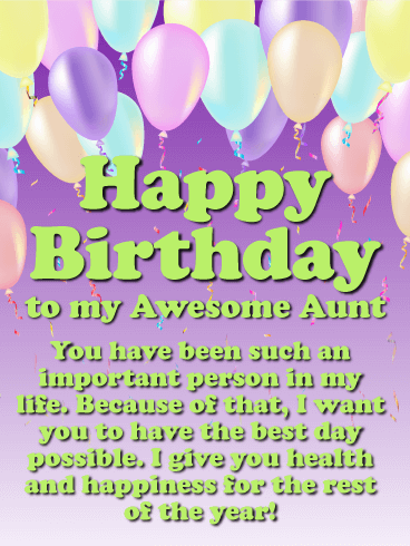 You are an Important Person - Happy Birthday Card for Aunt