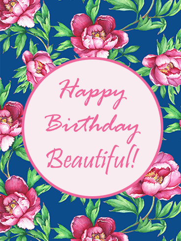 Flowering Pink Peony Happy Birthday Beautiful Card