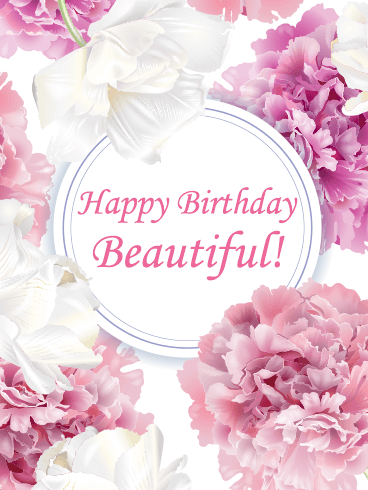 Romantic Tender Peony Happy Birthday Beautiful Card