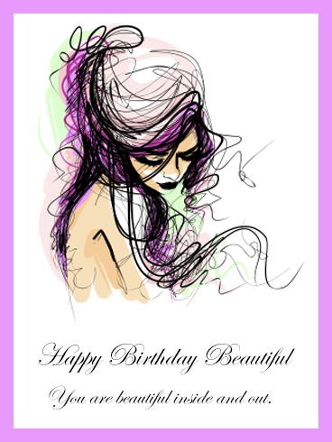 Happy Birthday Beautiful Young Girl Card