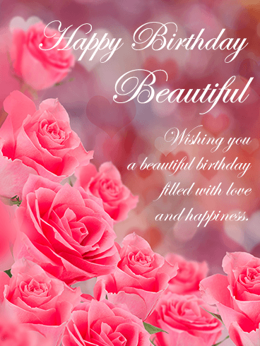 Pink Roses Happy Birthday Beautiful Card