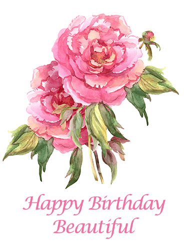 Beautiful Peony Happy Birthday Card