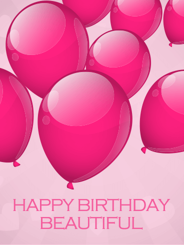 Pink Balloon Happy Birthday Beautiful Card