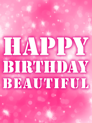 Pink Happy Birthday Beautiful Card